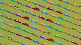 Lots of Cartoon Vector Cars Driving Up and Down in Rush Hour. Cartoon Vector Cars Driving on a Countryside Road stock footage