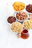 Lots of cereals. Bowl full of various cereals - diet and breakfast Stock Photography