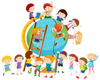 Lots of children around the globe Royalty Free Stock Photos