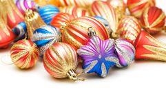Lots of christmas decoration. On white background Royalty Free Stock Photo
