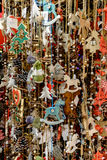 Lots of Christmas decorations hanging at the market in Vienna, A