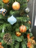 Lots of Christmas Ornaments on XMas Tree Stock Photography