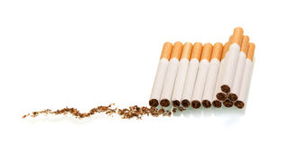 Lots of cigarette tobacco isolated on white. Stock Photos