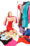 Lots of clothes and still nothing to wear! Royalty Free Stock Images