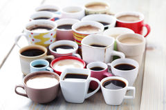Lots of coffee!. Lots of coffee in different cups - coffee time Stock Photography