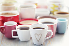 Lots of coffee!. Lots of coffee in different cups - coffee time Royalty Free Stock Photography