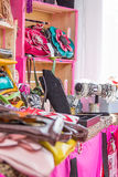 Lots of color and bling. A cool pic with lots of color, bling, purses, jewelry, with pinks, reds, and blues stock photo