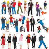 Lots of color people illustrat. Collection of many people coloured vector illustrations Stock Photo