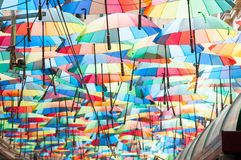 Lots of colored umbrellas. Colored umbrellas covering a street in bucharest Royalty Free Stock Photography