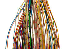 Lots of colored wires. A bunch of colorful cables Stock Photo