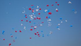Lots of colorful balloons in the blue sky Royalty Free Stock Photos