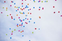 Lots of colorful balloons on the sky background. Royalty Free Stock Images