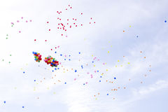 Lots of colorful balloons on the sky background Stock Photos