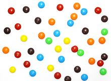Lots of colorful candies. Spread on white background Royalty Free Stock Photography