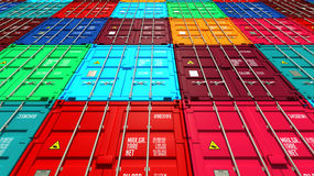 Lots of Colorful Cargo Containers. Stock Photo