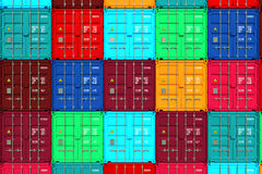 Lots of Colorful Cargo Containers. Royalty Free Stock Photos
