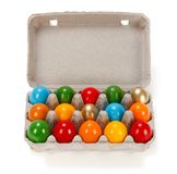 Colorful Easter eggs in cardboard rack Royalty Free Stock Photo