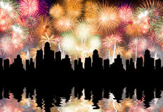 Lots of colorful fireworks in the sky Royalty Free Stock Photography