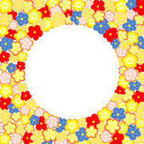 Lots of colorful flowers and a large circular text box Royalty Free Stock Image