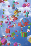 Lots of colorful gift boxes flying in the air Royalty Free Stock Photos