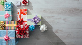 Lots of colorful gifts on a table Stock Image