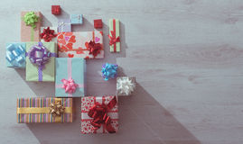 Lots of colorful gifts on a table Stock Photography