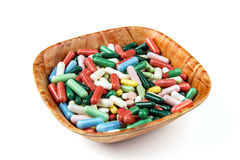 Lots of colorful pills on white background Royalty Free Stock Images