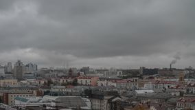 Lots of colorful rooftops of a big city in cloudy rainy day. Minsk city timelapse stock video footage
