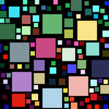 Lots of colorful square shapes on black. Stock Illustration