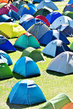 Lots of colorful tents in a camping Stock Images
