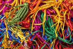 Lots of colorful, wicker bracelets on buddhist market near the temple in Dharamsala, India Royalty Free Stock Images