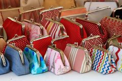 Lots of colorful women's handbags Stock Photography