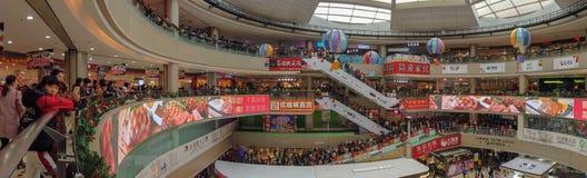 Lots of consumers visiting a big shopping Mall on the new year holiday. Zhongshan China Jan 1,2019:Lots of consumers visiting a big shopping Mall on the new year royalty free stock images