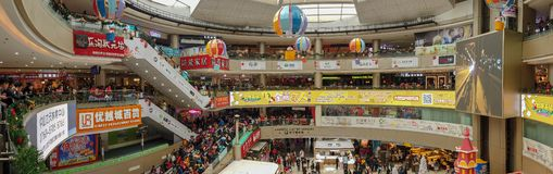 Lots of consumers visiting a big shopping Mall on the new year holiday. Zhongshan China Jan 1,2019:Lots of consumers visiting a big shopping Mall on the new year royalty free stock image