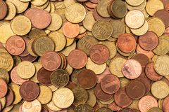 Lots of copper colored euro coins. Picture taken in the Netherlands stock image