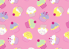 Lots of Cup cakes. Vector illustration of cup cakes in a repeat pattern Royalty Free Stock Photography