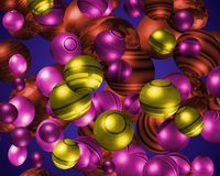3D colourful spheres. Lots of 3D coloured patterned spheres with sunrise background Stock Image