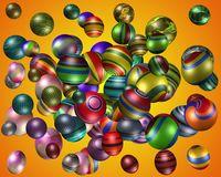 3D colourful spheres. Lots of 3D coloured patterned spheres with sunrise background Stock Images