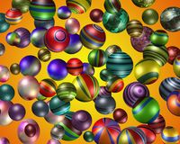3D colourful spheres. Lots of 3D coloured patterned spheres with sunrise background Royalty Free Stock Photos