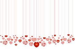 Lots of decorative red hearts on strings Royalty Free Stock Image