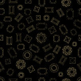Lots of diamonds. Seamless vector pattern with linear gem stones. Art Deco 1920s-1930s motifs. Chaotic movement. Black, white Royalty Free Stock Photography