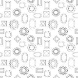 Lots of diamonds. Seamless vector pattern with linear gem stones. Art Deco 1920s-1930s motifs. Chaotic movement. Black, white Royalty Free Stock Image