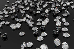 Lots of diamonds on a shiny black background Royalty Free Stock Image
