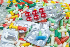 Lots of different colorful pills and capsules Royalty Free Stock Image