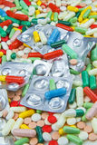 Lots of different colorful pills and capsules Stock Images