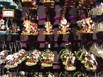 Lots of Disney Christmas Ornaments. For sale at the Disney Christmas shop in Disney Springs, Orlando, Florida royalty free stock images