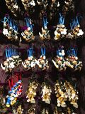 Lots of Disney Christmas Ornaments. For sale at the Disney Christmas shop in Disney Springs, Orlando, Florida stock images