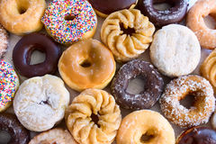 Lots of donuts - from above. Lots of donuts - different kinds - view from above Stock Photo
