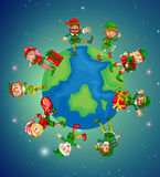 Lots of elves on earth for Christmas night Royalty Free Stock Photo