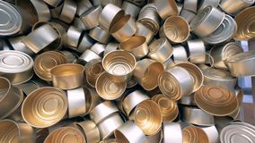 Lots of empty cans. Clean empty cans are in one container stock video footage
